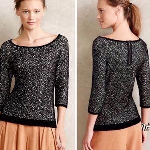 Anthropologie BlackWhite Chenille Jacquard Sweater